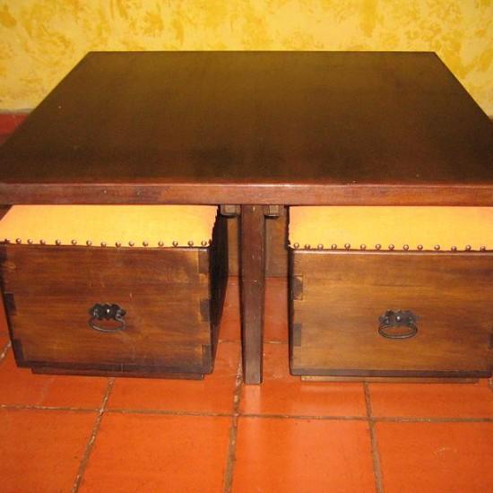 Muebles Rústicos La Cabaña Mesa Centro Puff
